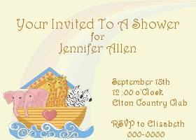 Free Printable Noah's Ark Card And Invitation