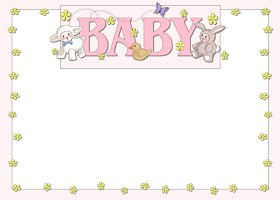 Free Printable Baby Animals (girl) Card And Invitation