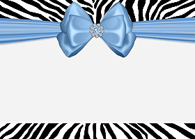 Free Printable Blue Zebra Card and Invitation