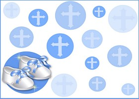 Free Printable Christening Shoes (blue) Card And Invitation