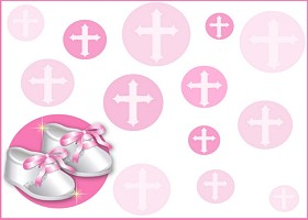 Free Printable Christening Shoes (pink) Card And Invitation