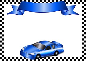 Free Printable Race Car (blue) Card and Invitation