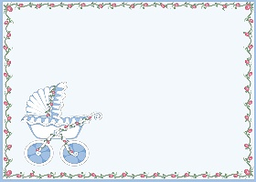 Free Printable Baby Stroller (blue) Card And Invitation