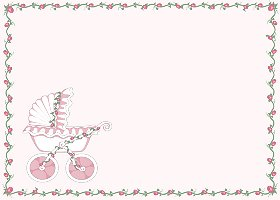 Free Printable Baby Stroller (pink) Card And Invitation