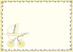Free Printable Baby Stroller (yellow) Card And Invitation