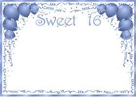 <h3>Sweet 16 (blue) Invitation </h3>