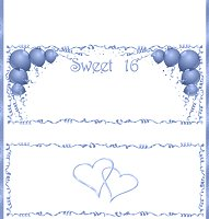 <h3>Sweet 16 (blue) Candy Wrapper </h3>