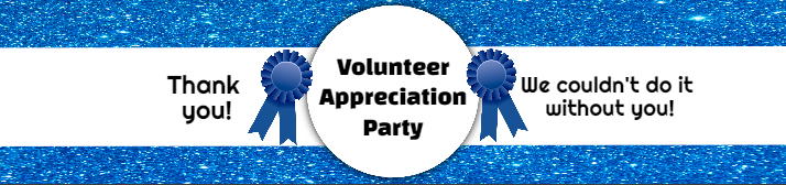 Blue Glitter Volunteer Appreciation Water Bottle Label Template