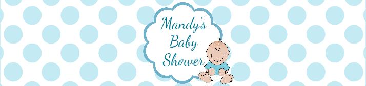 Blue Polka Dots Baby Shower Water Bottle Label Template