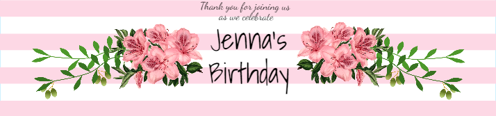 Pink Stripes Birthday Water Bottle Label Template