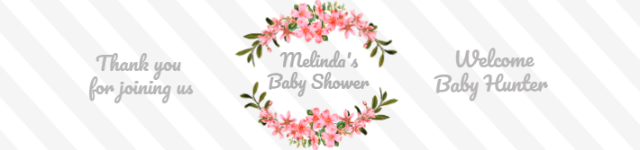 Floral Stripes Baby Shower Water Bottle Label Template