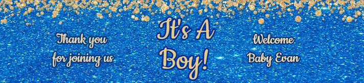 Blue Gold Glitters Baby Shower Water Bottle Label Template