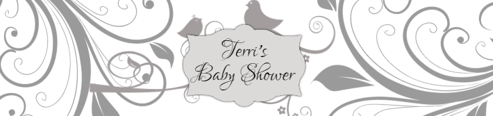 Bird Scroll Baby Shower Water Bottle Label Template