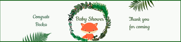 Woodland Fox Baby Shower Water Bottle Label Template
