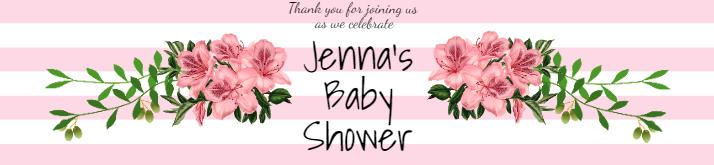Pink Baby Shower Birthday Water Bottle Label Template