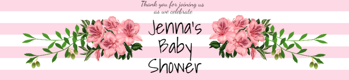 Pink Baby Shower Birthday Water Bottle Label Template