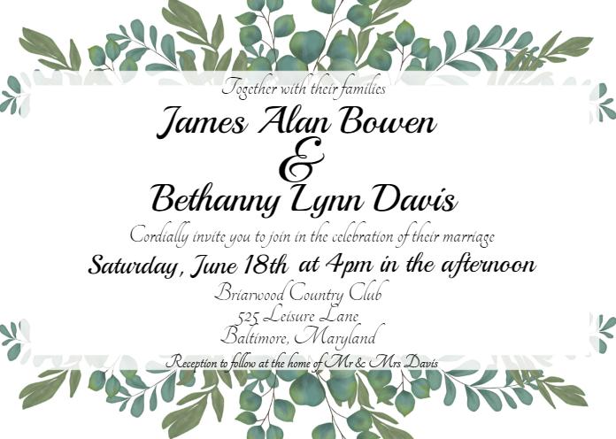 Bohemian Greenery Wedding Invitation Template