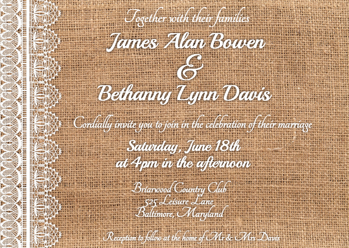 Burlap and Lace Country Wedding Invitation Template