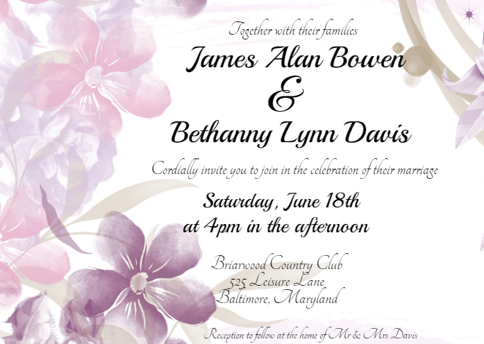 Floral Romance Wedding Invitation Template