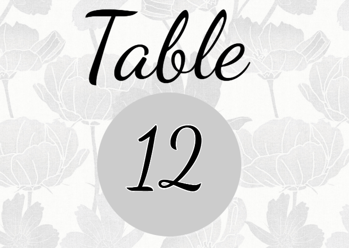 Free Editable Floral Wedding Table Number Template