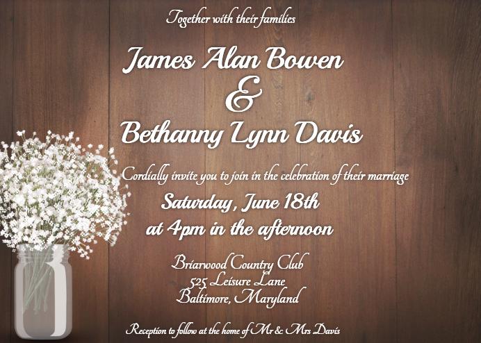 Rustic Mason Jar Wedding Invitation Template