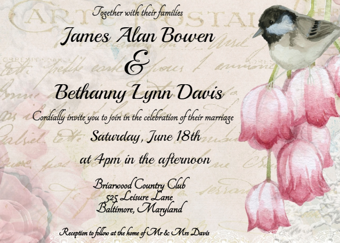 Vintage Romance Wedding Invitation Template