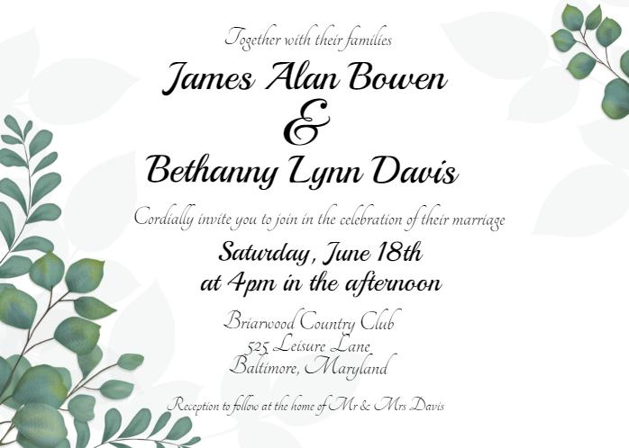Eucalyptus Greenery Wedding Invitation Template