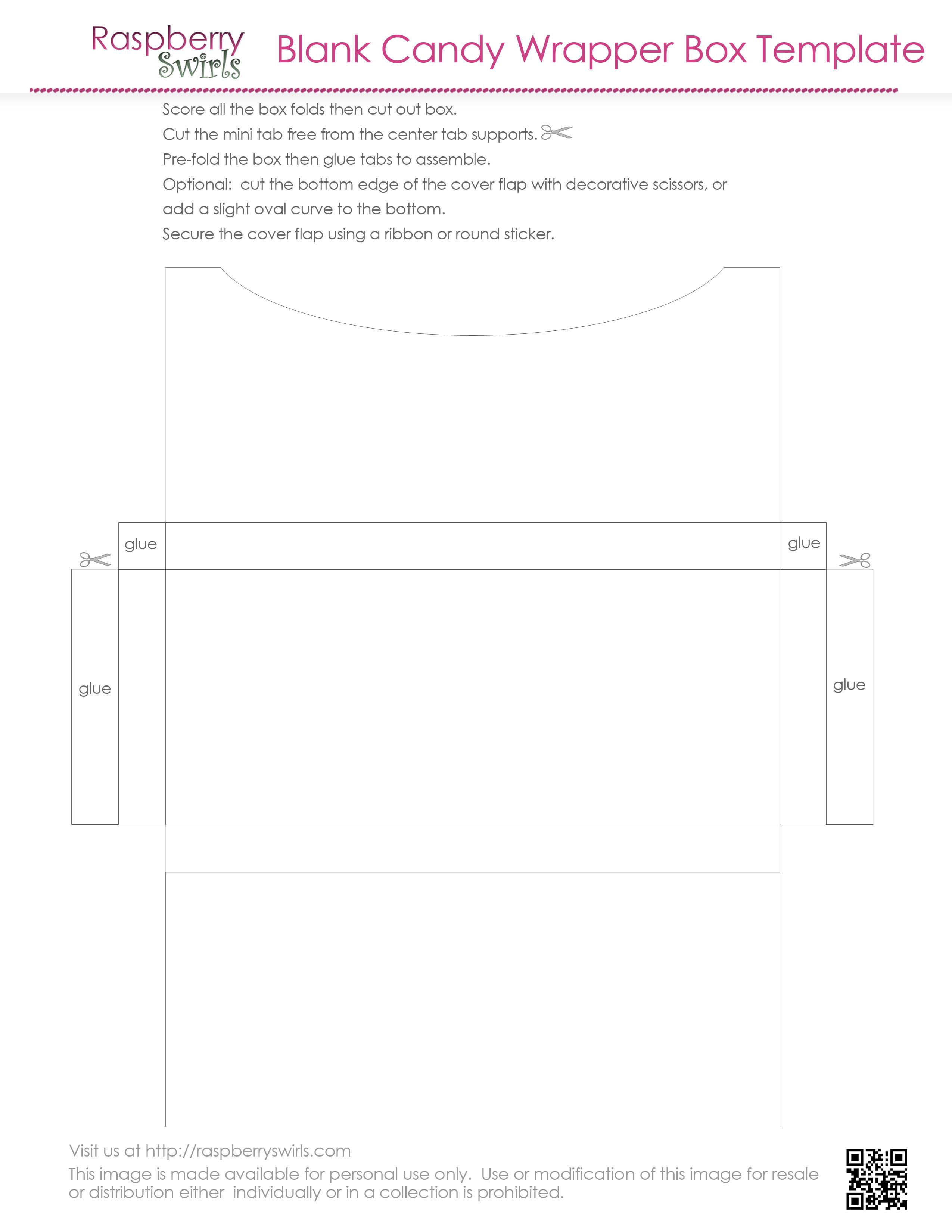 Free Printable Chocolate Candy Bar Wrapper Box Template Raspberry Swirls