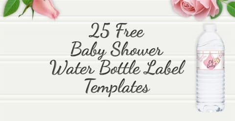 25 Baby Shower Water Bottles Labels Raspberry Swirls