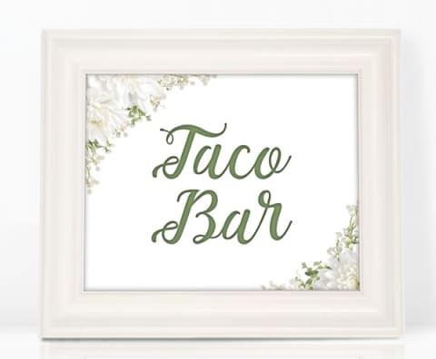 Floral Taco Bar Sign