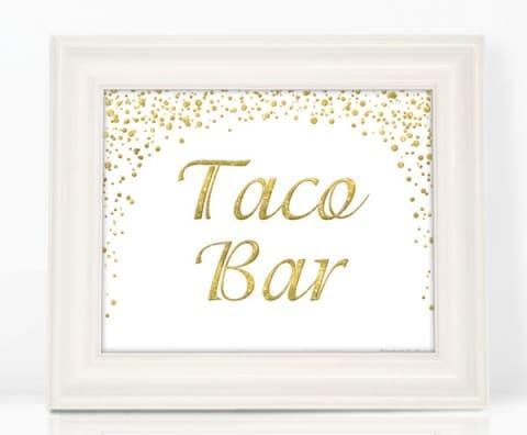 Glitter Taco Bar Sign