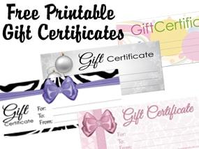 Free printable gift certificates